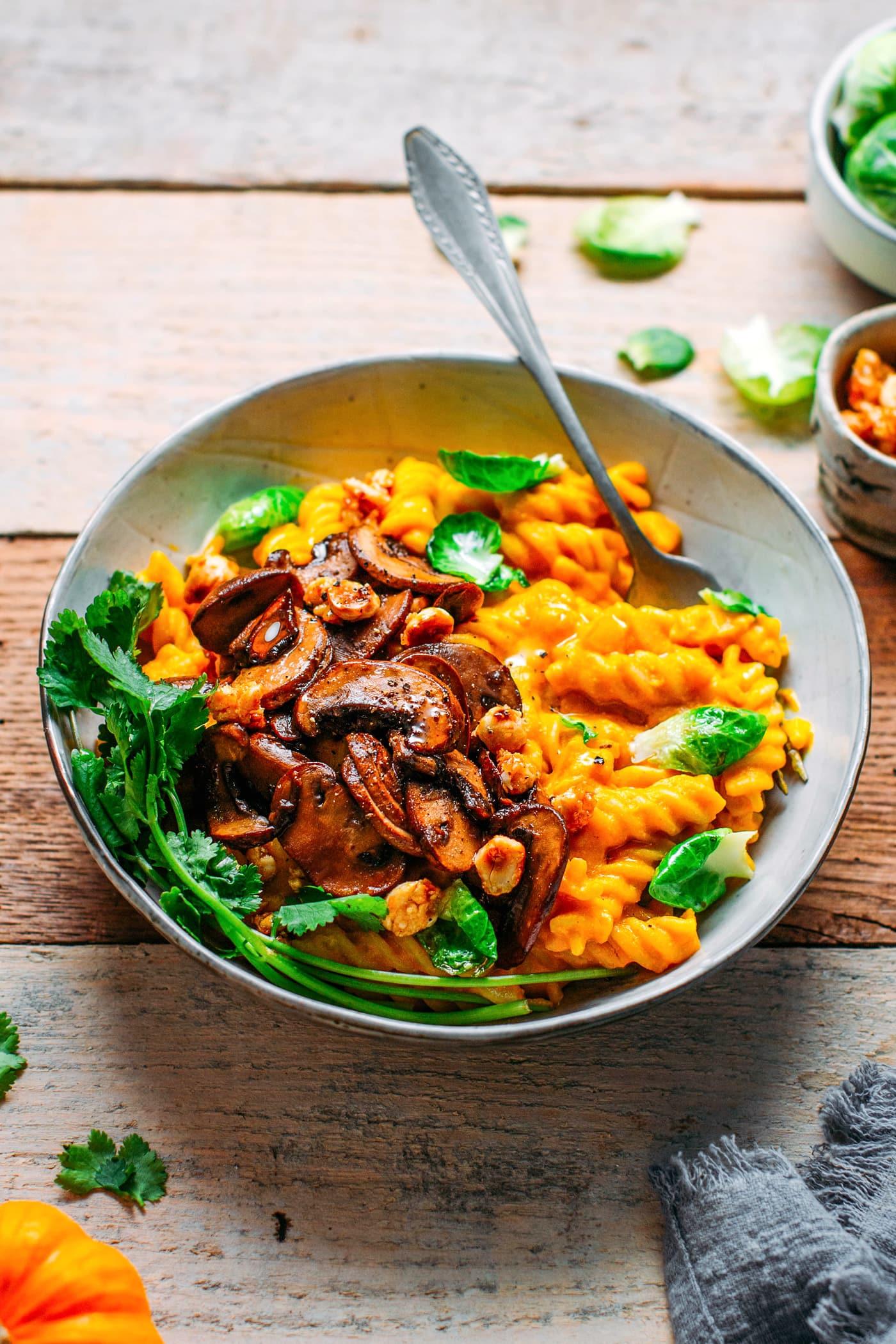 Creamy Pumpkin Pasta with Caramelized Hazelnut Mushrooms