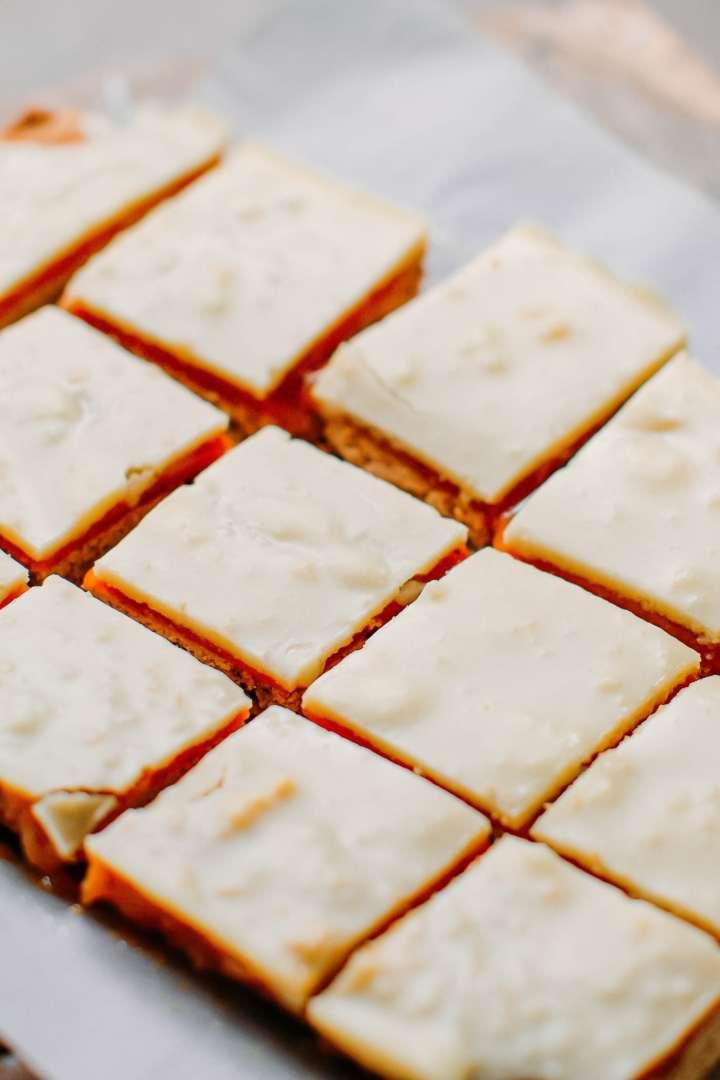 White Chocolate Caramel Gingerbread Bars (Vegan + GF)