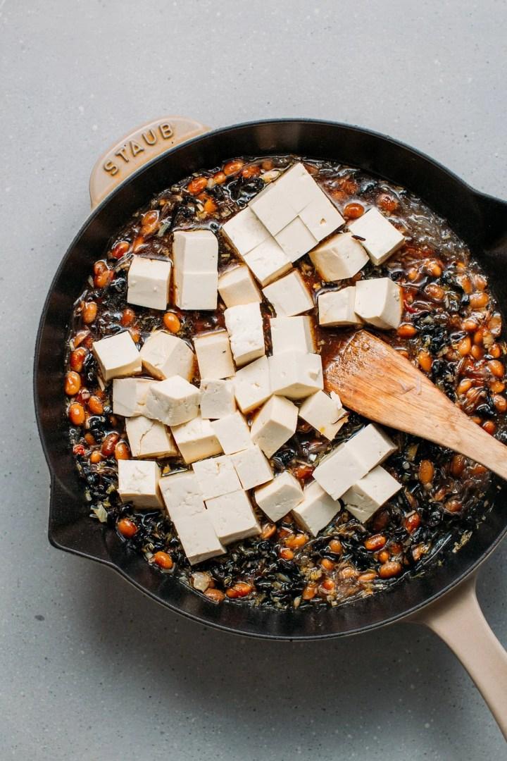 White tofu stewed in a umami soybean sauce.