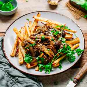 Baked Parsnip Fries with Mushroom Gravy