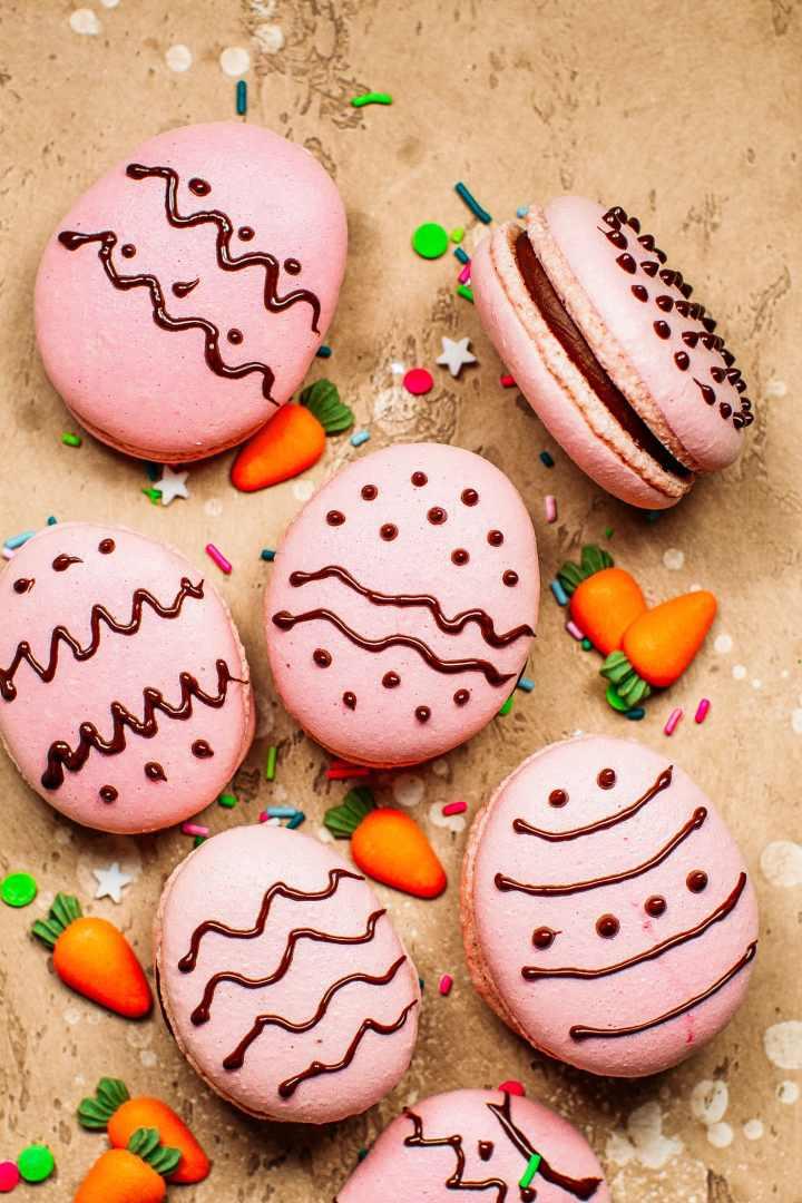 Vegan Chocolate Hazelnut Easter Egg Macarons
