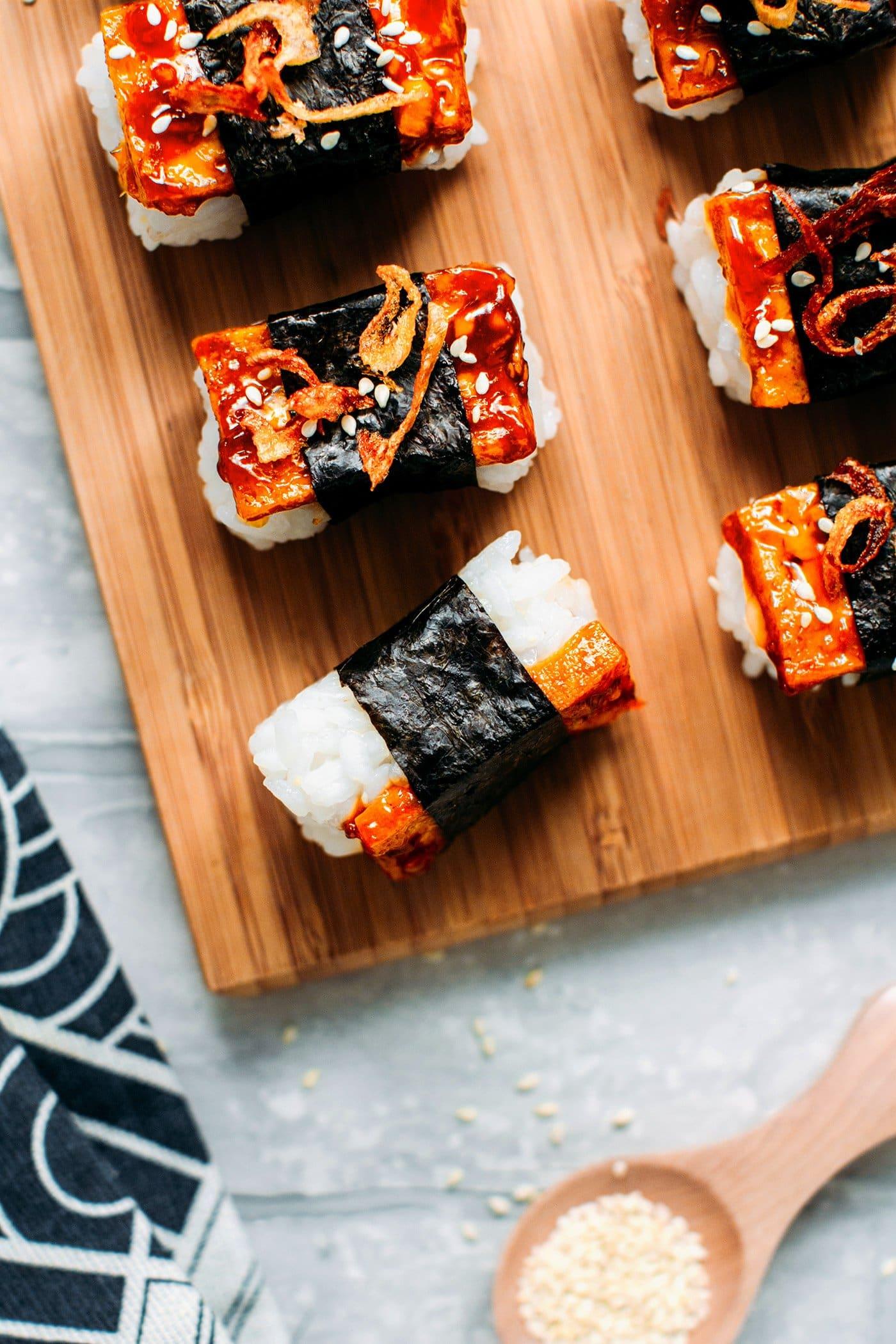 Teriyaki Tofu Nigiri with Crispy Shallots