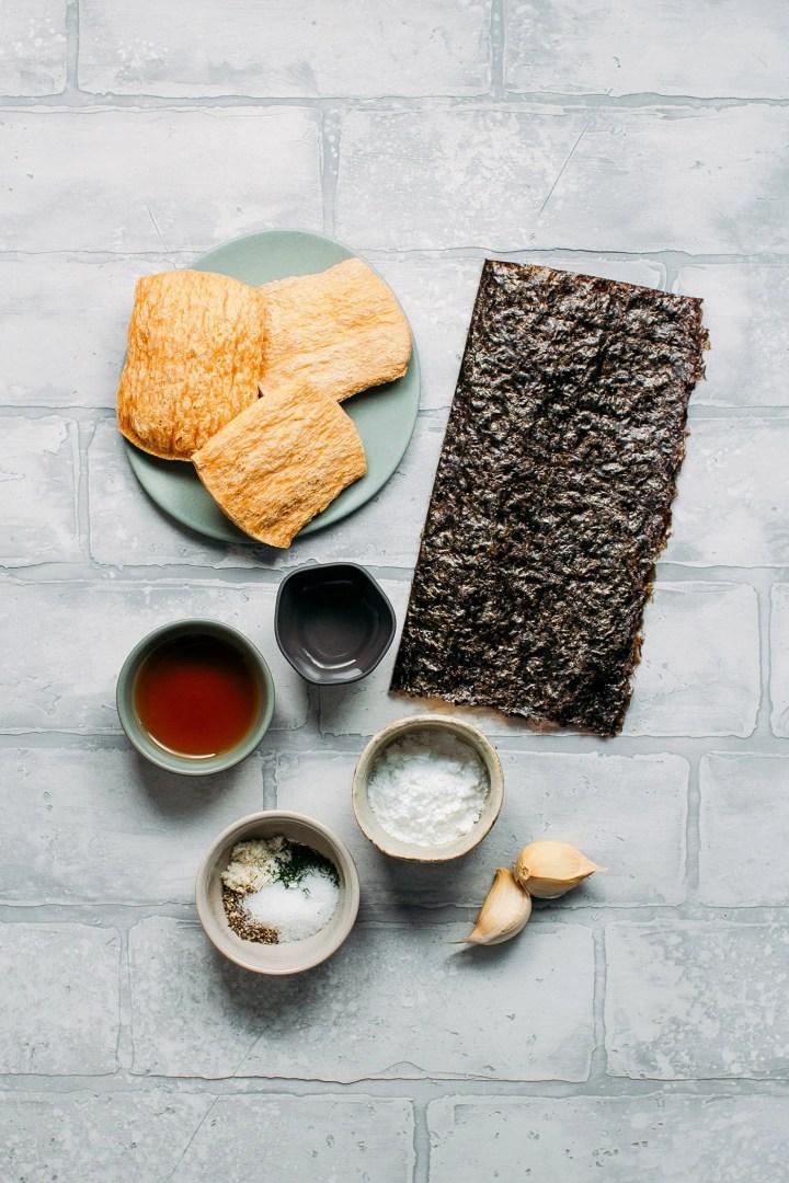 Ingredients to make vegan fish, nori, garlic, and tvp.