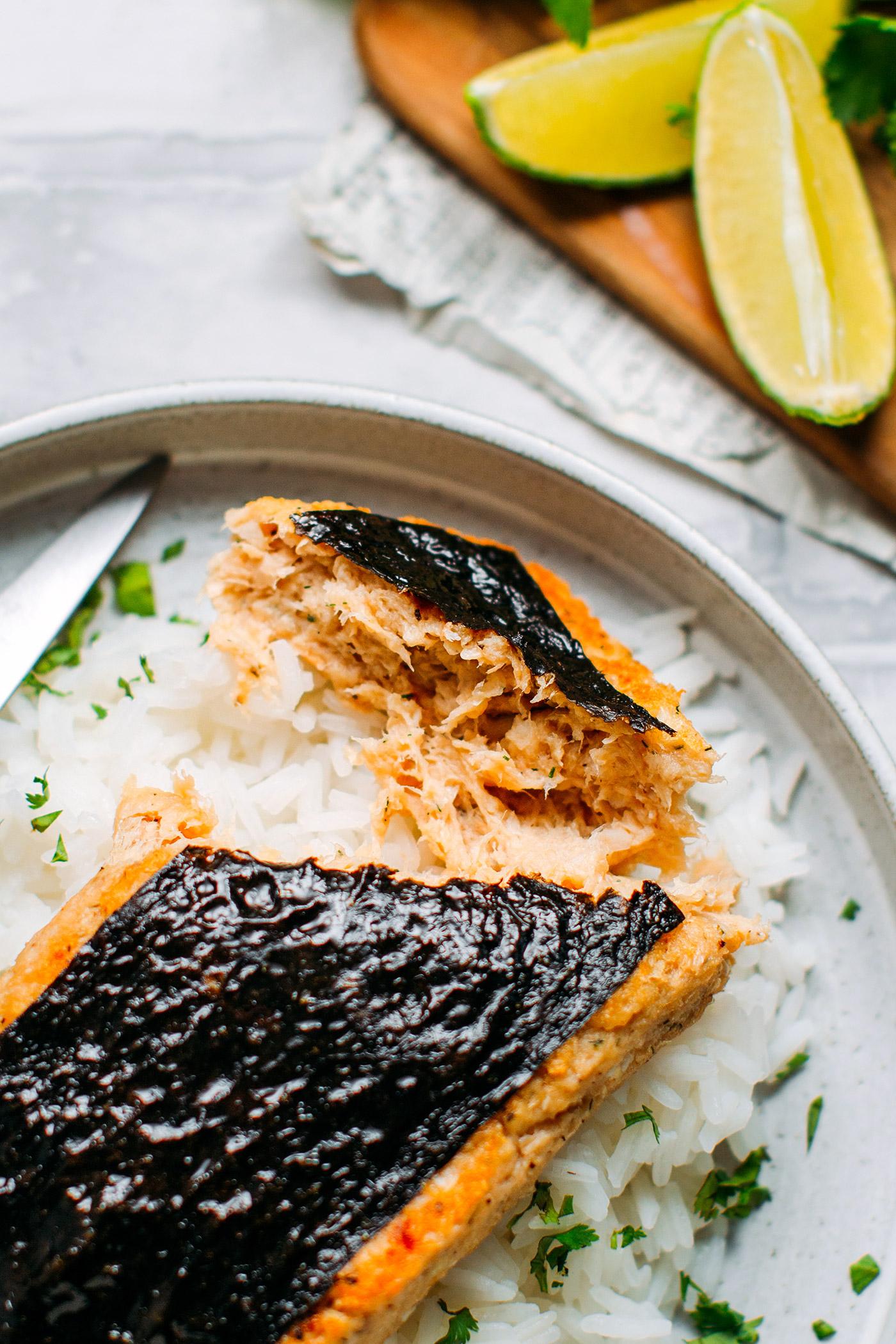 Close up of vegan fish fillet with nori.
