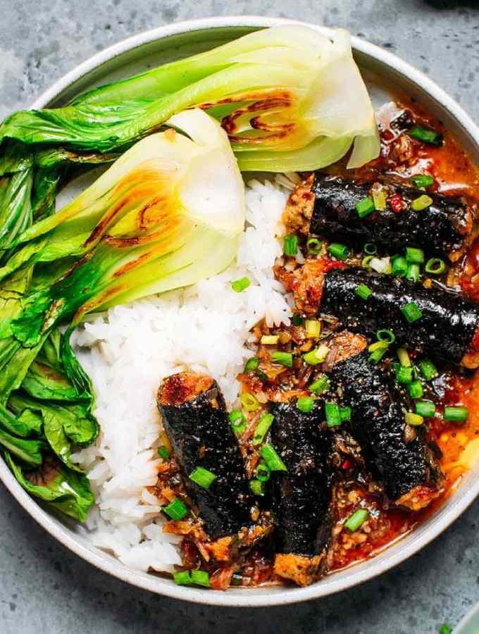Vegan Braised Fish Rolls