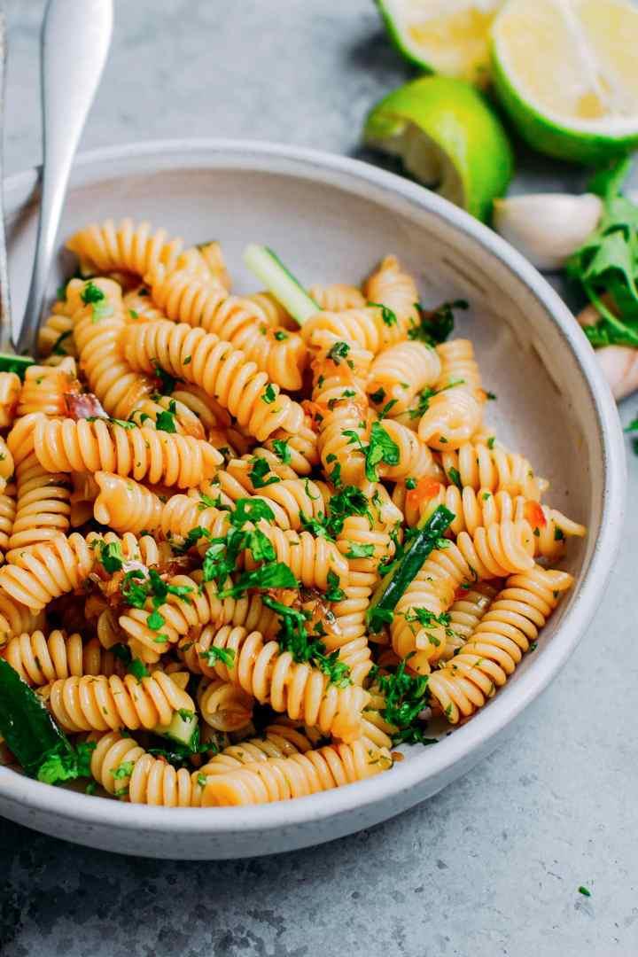 Close-up of a cilantro & lemongrass pasta salad.