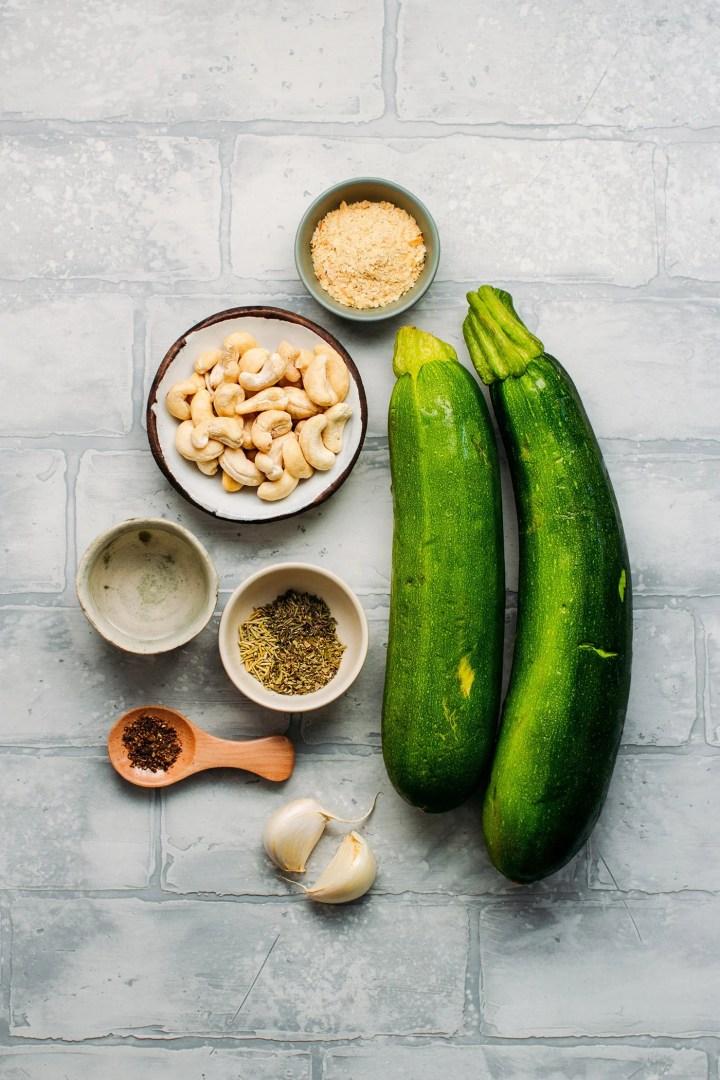 Ingredients to make a Vegan Savory Zucchini Tart.
