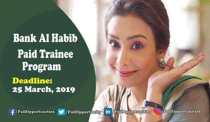 Bank Al Habib Paid Trainee Program 2019 for Graduates