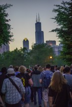 Here is a picture of the photowalk in earnest moving from the Museum park grounds into Grant Park.