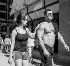 A couple on Michigan Avenue in Chicago