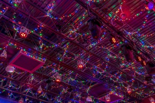 The ceiling lights at the Fuel Room in Austin's Saloon and Eatery in Libertyville, IL