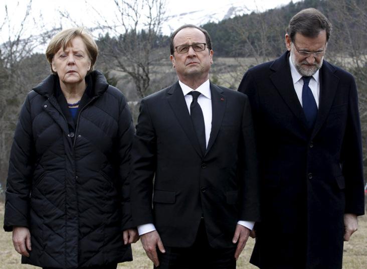29. Канцлер Германии Ангела Меркель, президент Франции Франсуа Олланд и премьер-министром Испании Мариано Рахой почтили память жертв катастрофы A320 под Динь-ле-Беном.