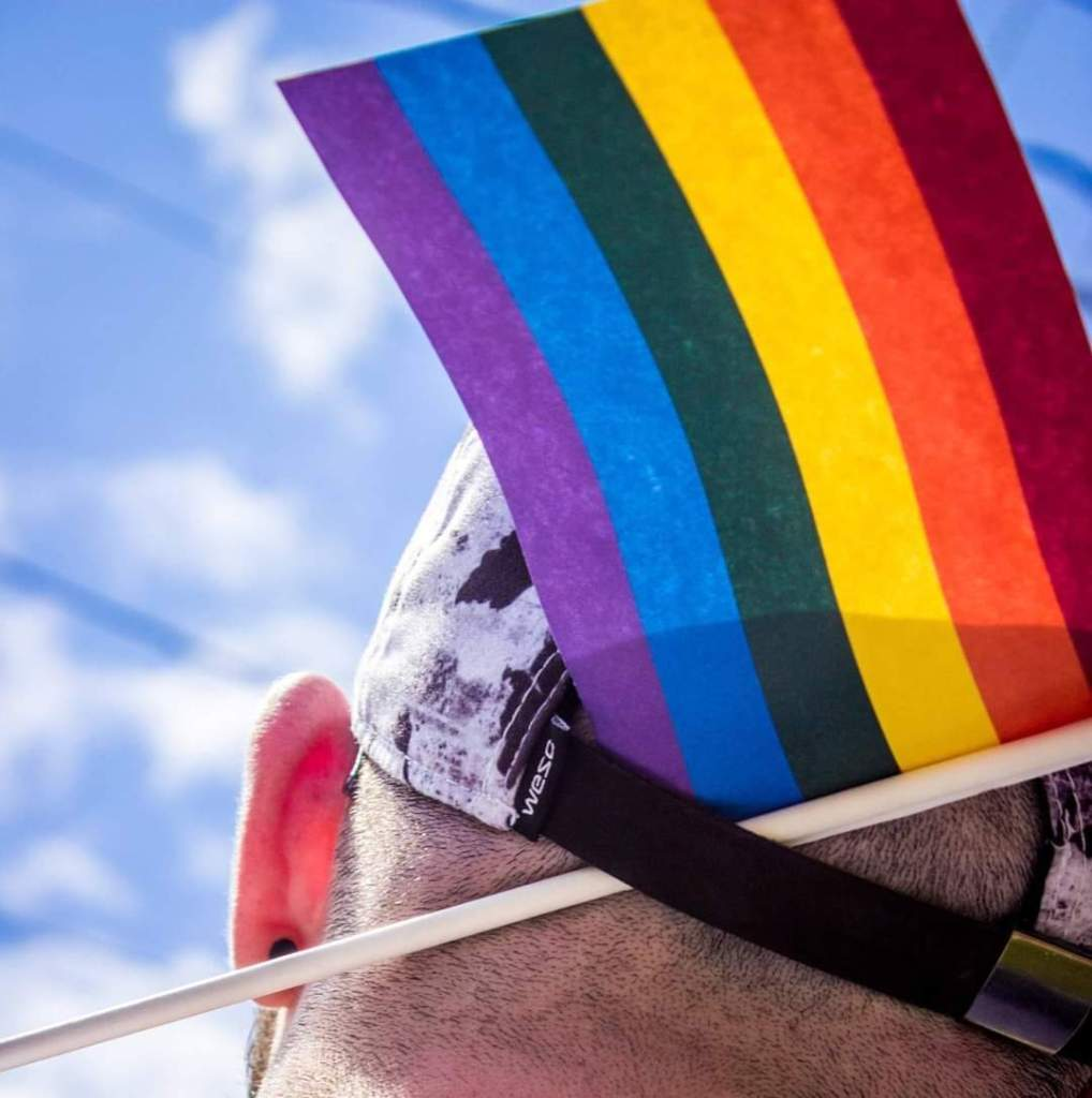 The back of a person's head with a small rainbow flag sticking out of their baseball cap