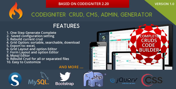 CodeCanyon] - Codeigniter CMS - CRUD Builder - Administrator v3 0