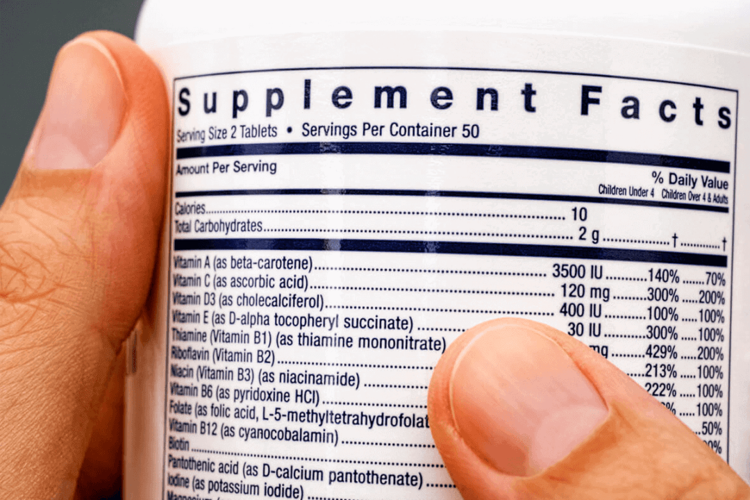 close up of supplement bottle label with nutrient facts