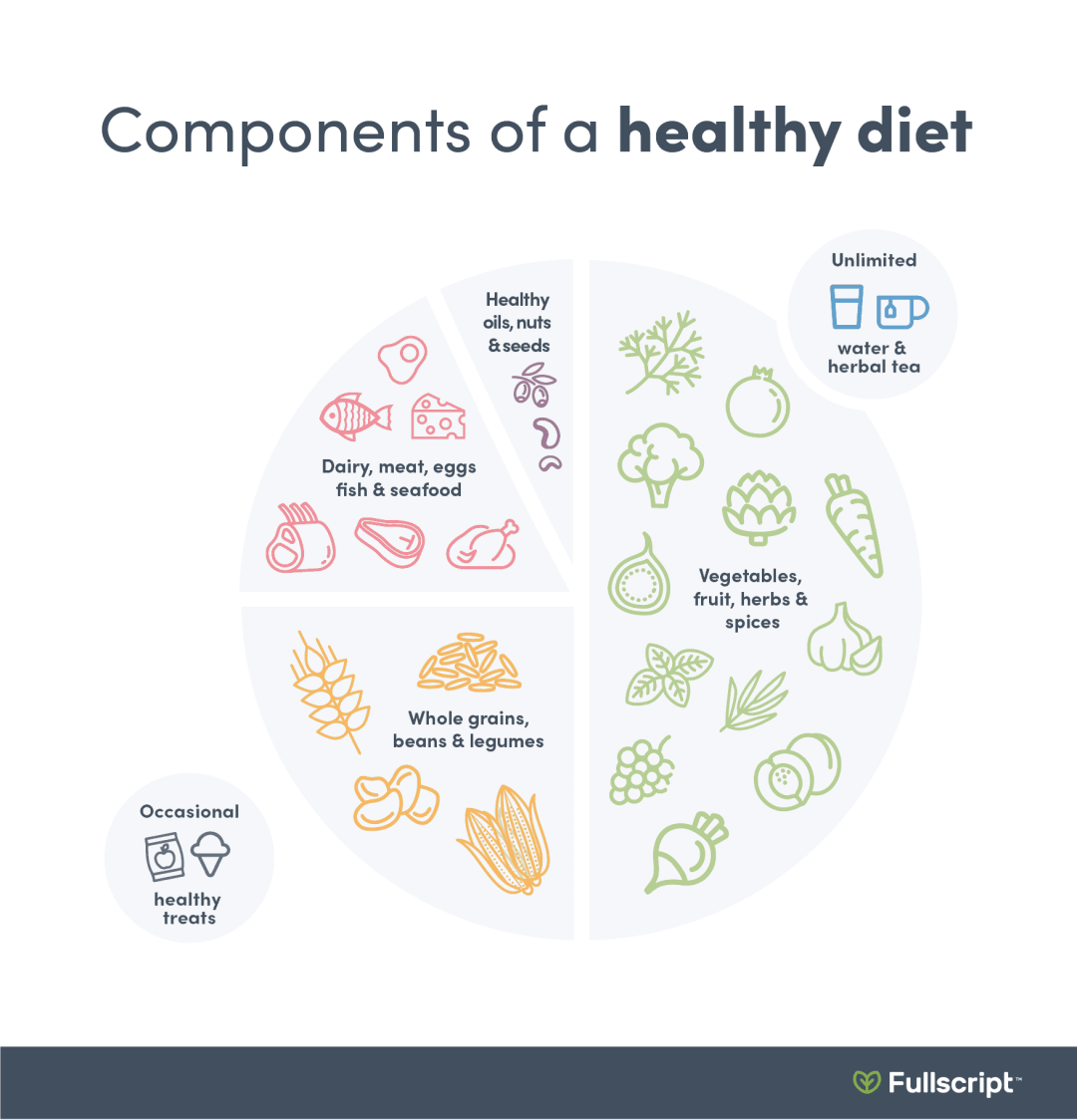 healthy plate with a recommended food intake infographic