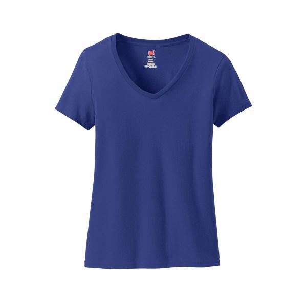 Hanes S04V Ladies Nano-T Cotton V-Neck T-Shirt - Deep ...