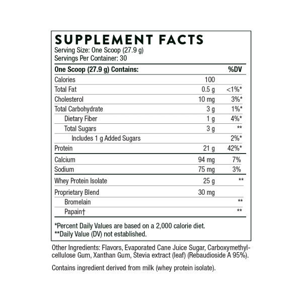 Whey Protein Isolate Vanilla Ingredients