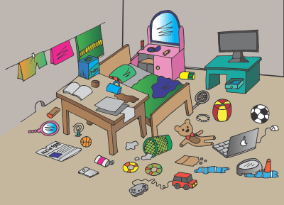 Messy room with items all over the bed, desk, and floor; cartoon image