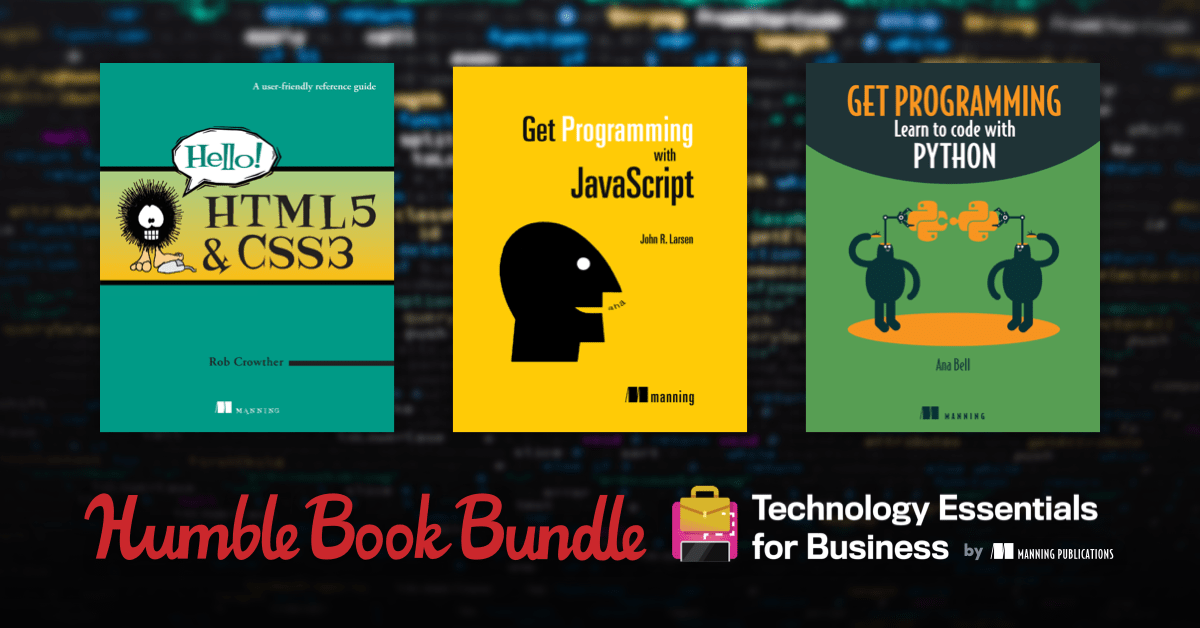 Get Programming, Build a Career in Data Science, Web Design Playground, & more in the Technology Essentials for Business by Manning Publications Book Bundle