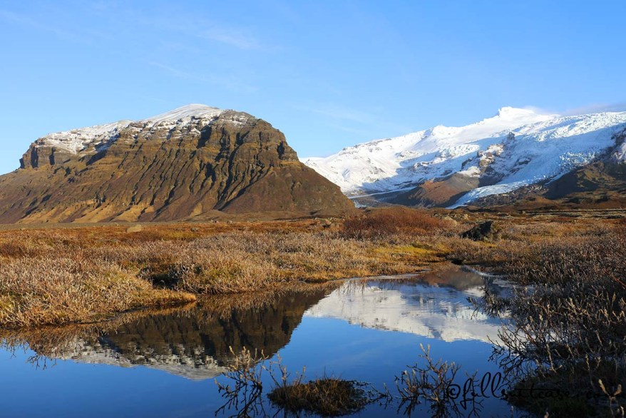 Mountain reflections Southern Iceland