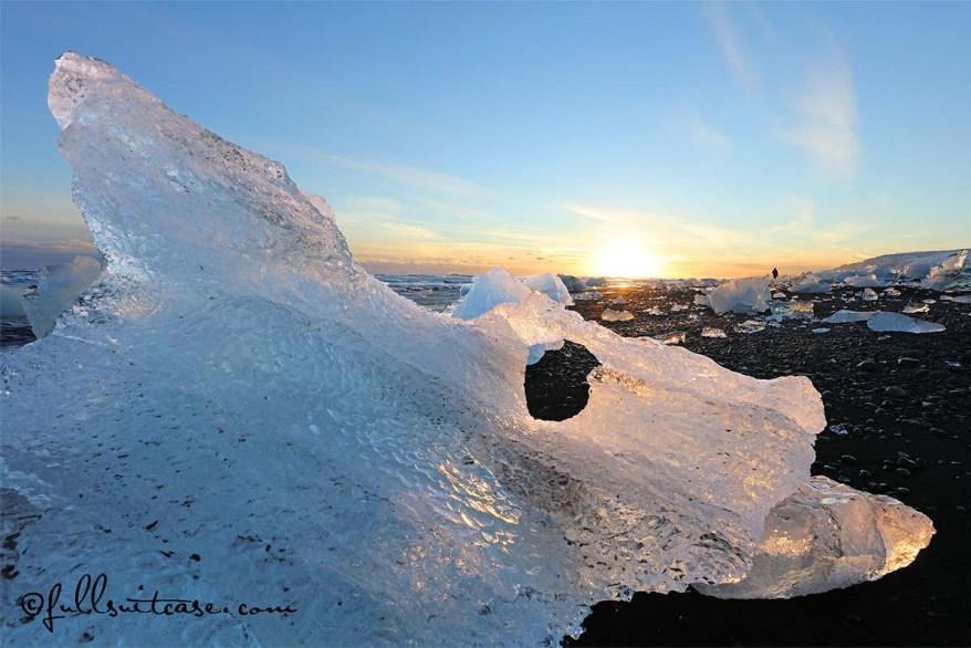 Ice Formations on JOkulsarlon coast at sunset Iceland