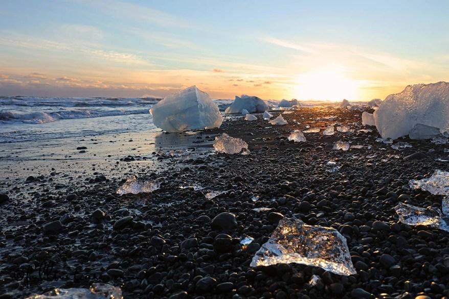 Ice on the beach Jokulsarlon