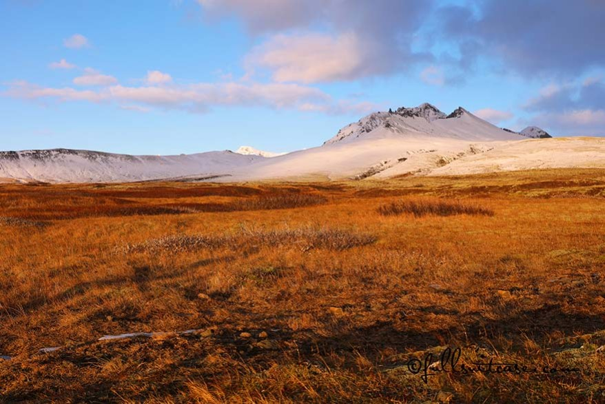 Beautiful sunlit mountain landscape at Skaftafell in Iceland