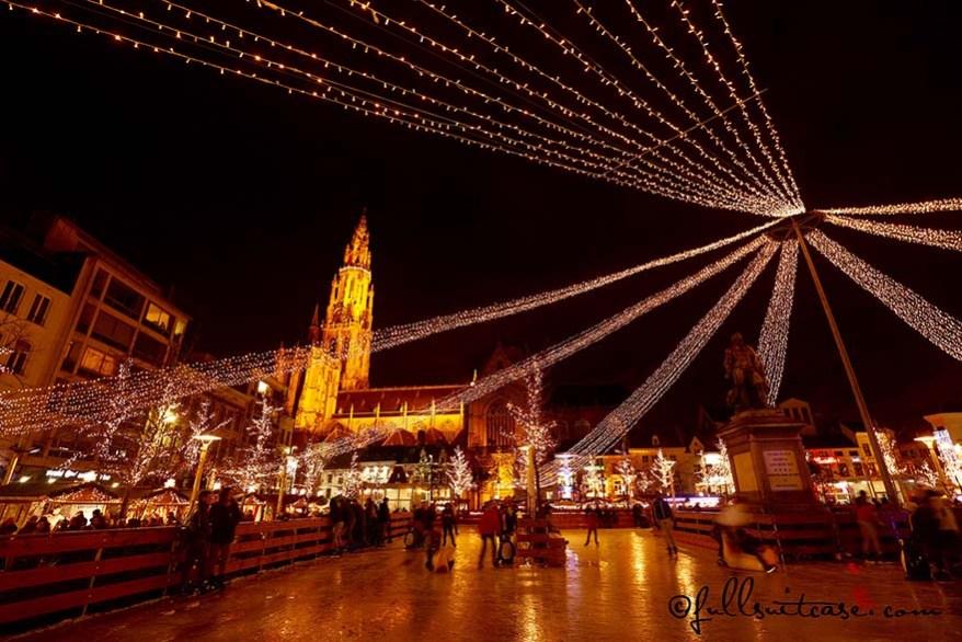 Antwerp Belgium Christmas market ice skating rink
