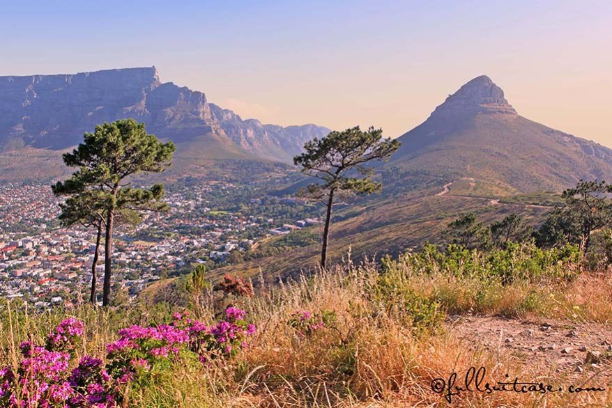 Table Mountain and Signal Hill in Cape Town at Sunset