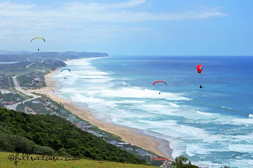 Paragliding above the beach of Wilderness, Garden Route