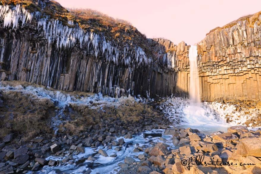 Svartifoss waterfall in Skaftafell National Park in winter