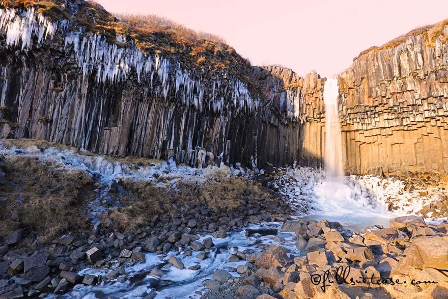 Svartifoss waterfall in Skaftafell National Park in winter