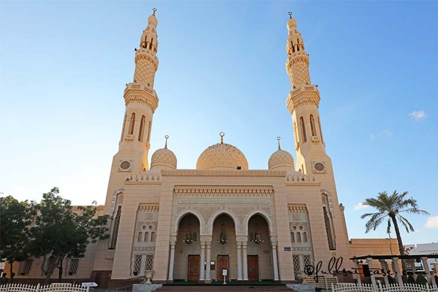 The entrance of the Jumeirah Mosque in downtown Dubai