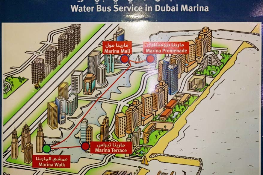 Map of Dubai Marina water bus stops