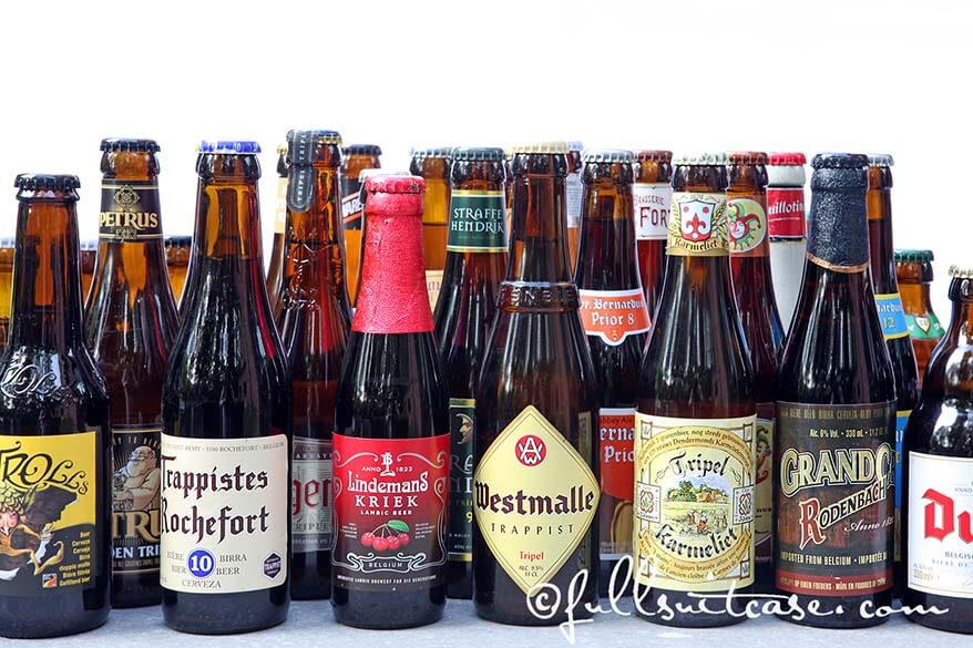 Variety of Belgian beer bottles like Kriek, Westmalle, Trappistes Rochefort and many more