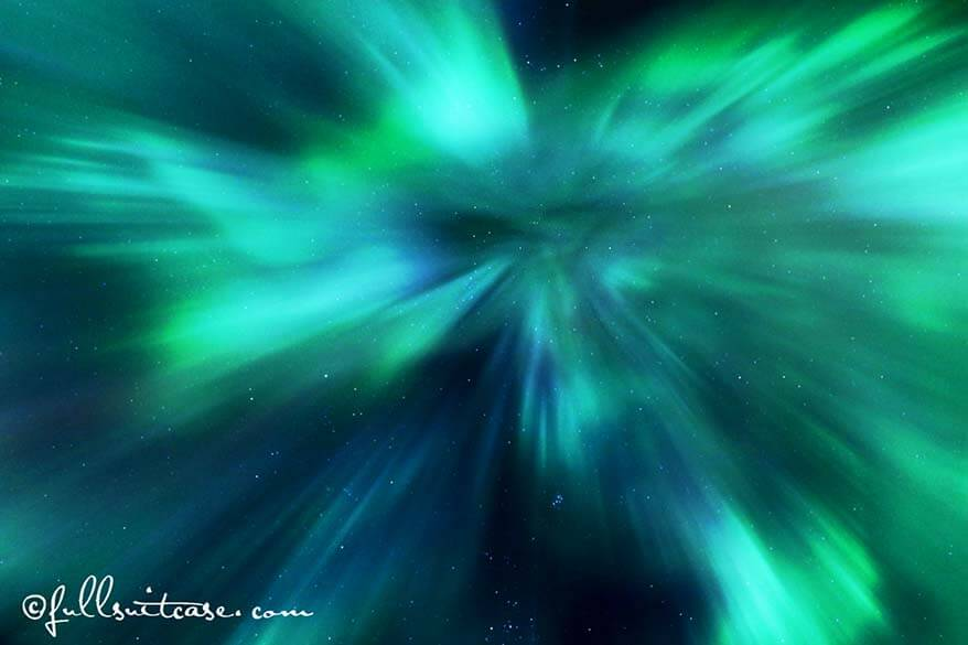 Star shape Aurora Borealis display in Iceland