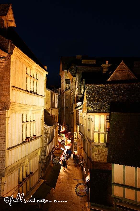 Grande Rue at Mont Saint Michel at night