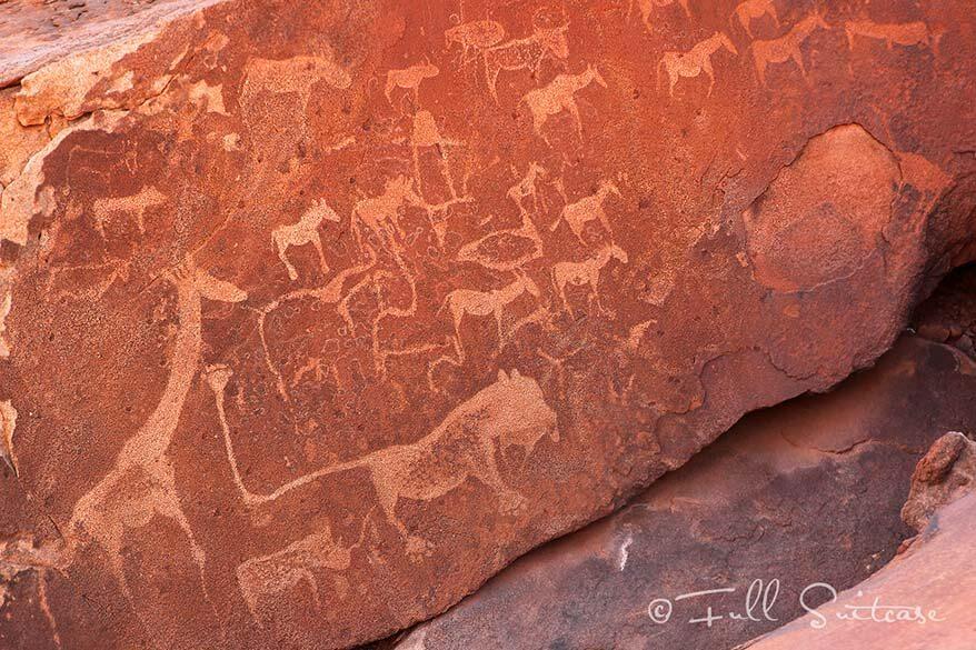 Twyfelfontein bushmen paintings Lion Man Route