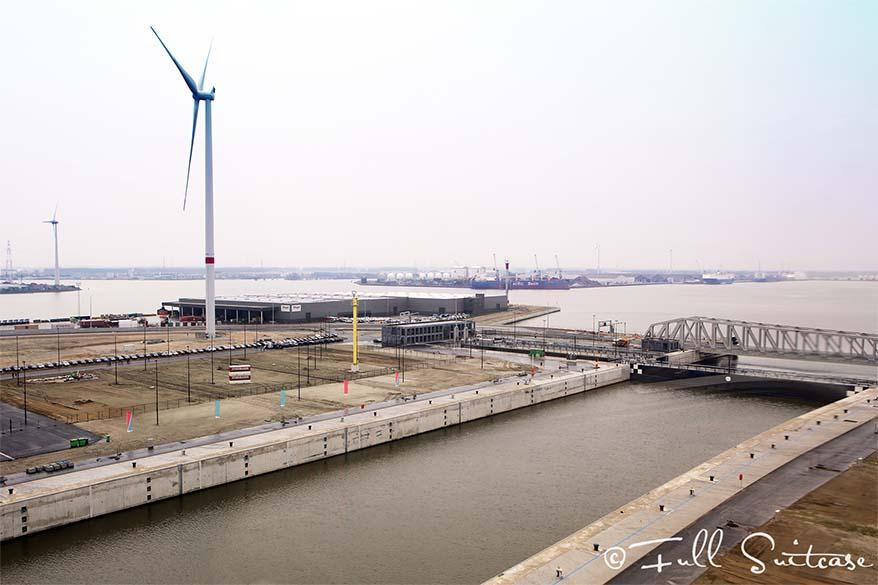 Kieldrechtsluis - the biggest lock in the world - in the port of Antwerp