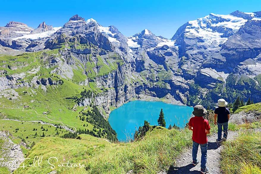 Kids hiking at Oeschinensee Kandersteg Switzerland