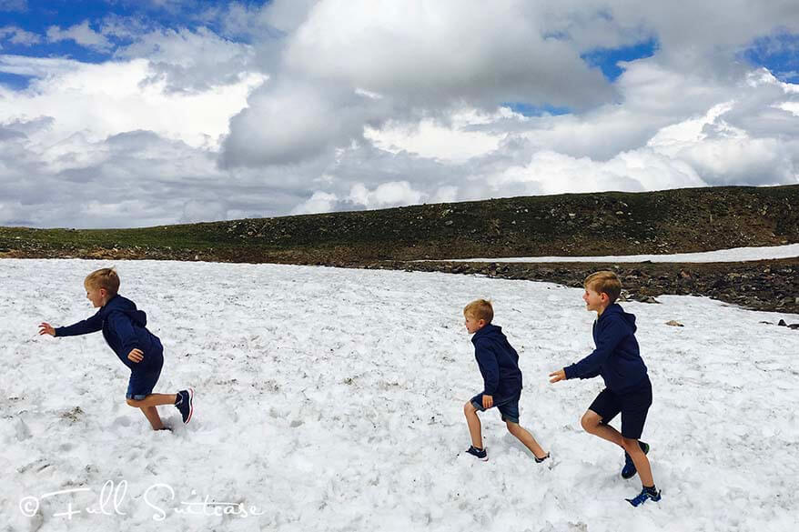 Kids playing in the snow in summer - Trail Ridge Road Rocky Mountains