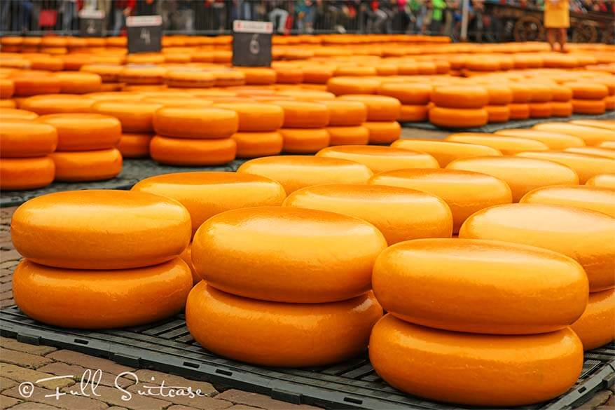 Stacks of Gouda cheese at Alkmaar cheese market