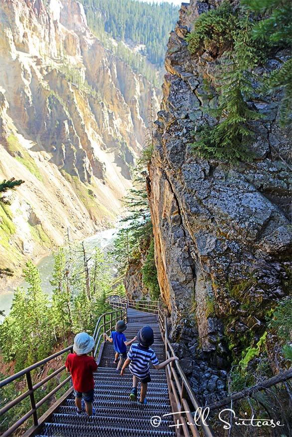 Uncle Tom's Trail Yellowstone Canyon with kids