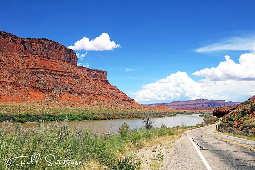 Scenic highway 128 through Castle Valley in Utah