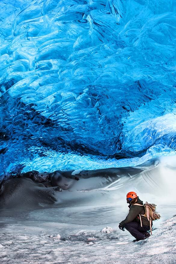 Glacier ice caving in Iceland