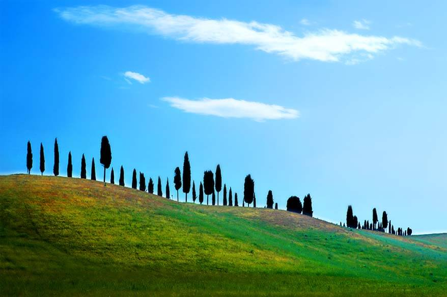 The rolling hills of Tuscany region in Italy