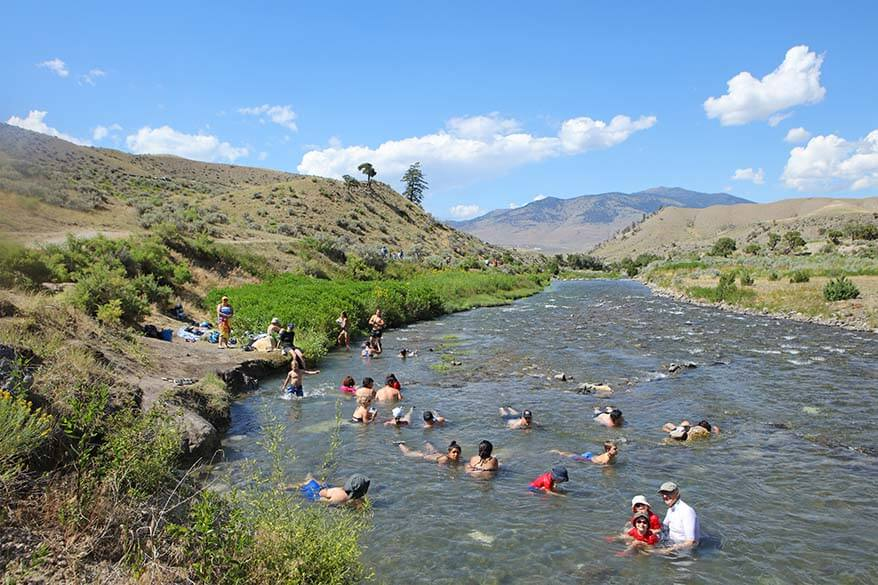 Swimming in the Boiling River in Yellowstone National Park