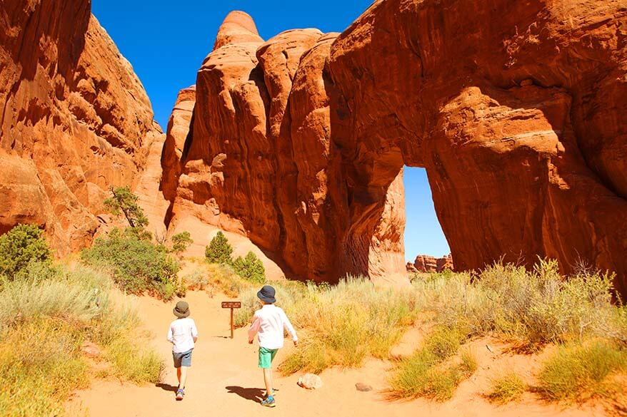 Hiking at Arches National Park with kids