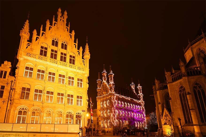 Old Town of Leuven, Belgium at night